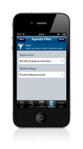 event app agenda filter on iPhone