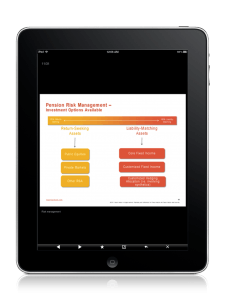 event app with PowerPoint slide viewer on iPad