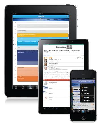EventPilot meeting apps on iPad, Android tablet, and iPhone