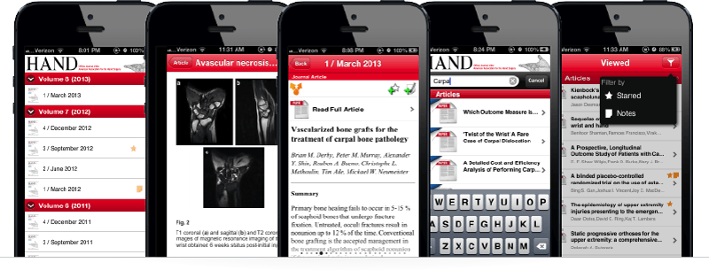 multiple screens of scientific and medical magazine journal mobile app