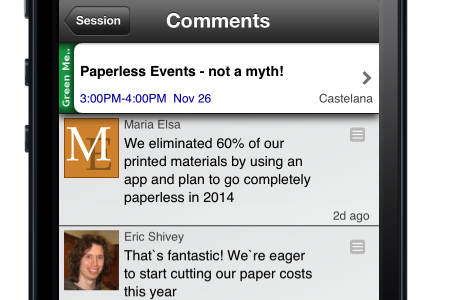 example of commenting on event app