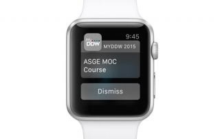 Apple Watch with conference app session reminder