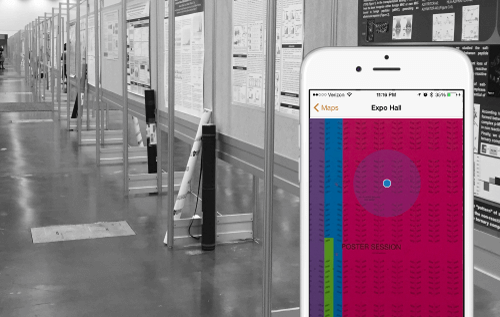 Indoor positioning for poster hall in medical meeting app